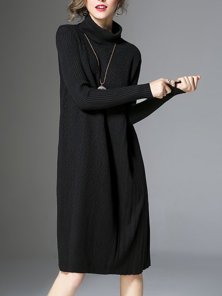 Black Knitted Turtleneck Pleated Casual Sweater Dress
