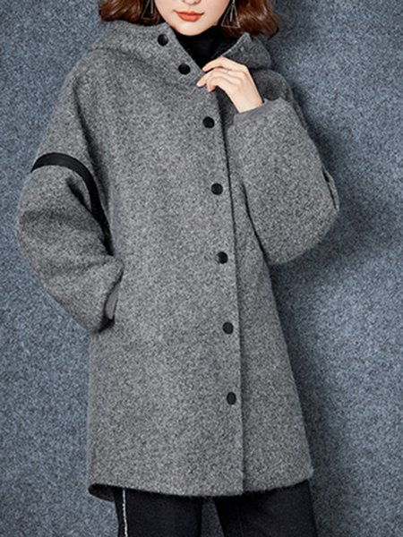 Plus Size Gray Paneled Hoodie Casual Letter Coat