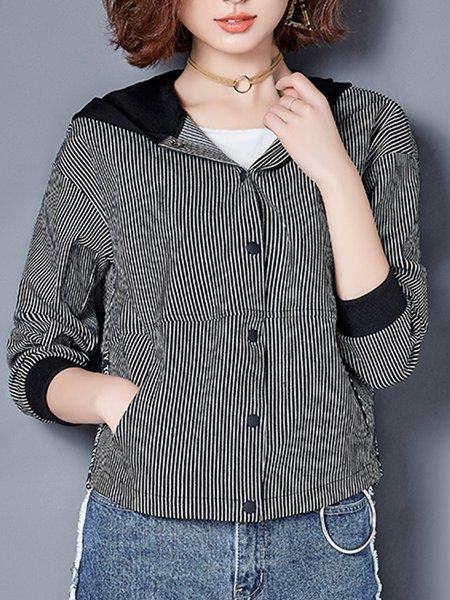 Black-white Hoodie Paneled Long Sleeve Jacket