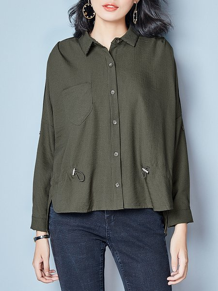 Paneled High Low Casual Long Sleeve Shirt Collar Blouse