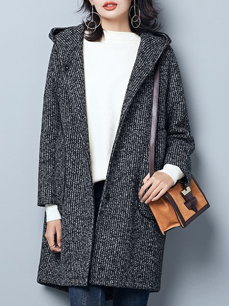 Gray High Low Cotton-blend Long Sleeve Coat