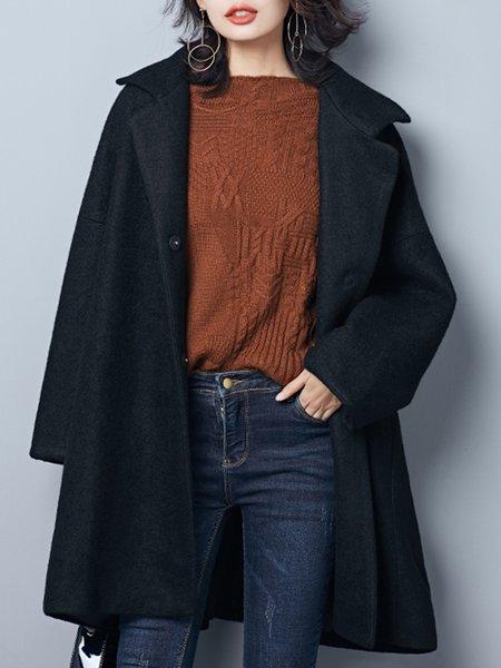 Plus Size Black Lapel Long Sleeve Solid Wool Blend Coat