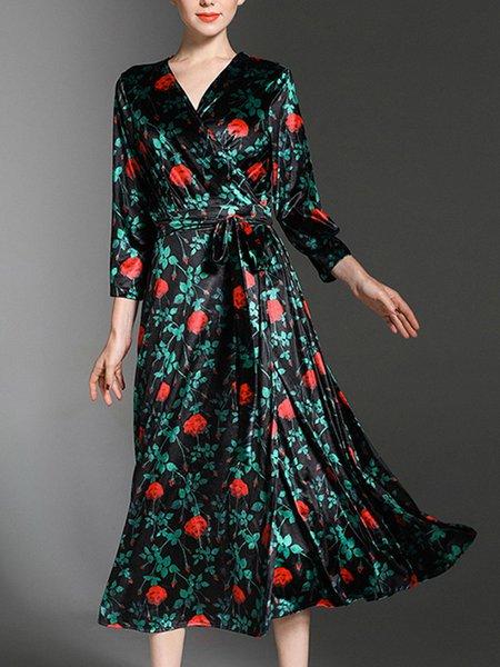 Dark Green A-line Velvet Long Sleeve Floral Midi Dress