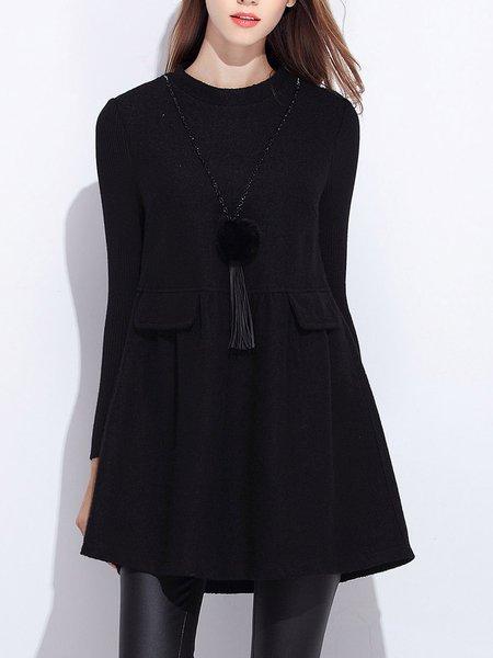 Black A-line Long Sleeve Solid Mini Dress