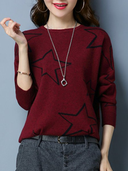 Crew Neck Casual Knitted Geometric Long Sleeve Sweater