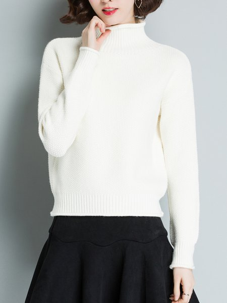Knitted Casual Long Sleeve Turtleneck Solid Sweater