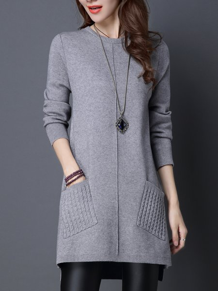 High Low Casual Long Sleeve Mini Dress