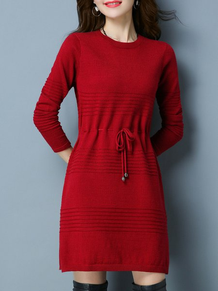 Plain Casual Long Sleeve Slit Knitted Sweater Dress