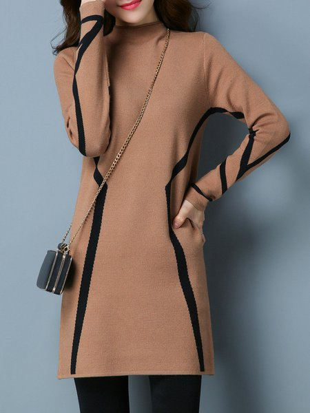Casual Knitted Long Sleeve Color-block Stand Collar Sweater Dress