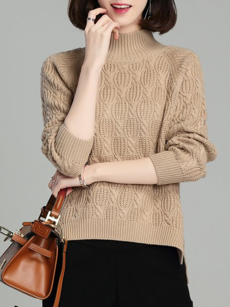 Asymmetric High Low Casual Long Sleeve Knitted Sweater