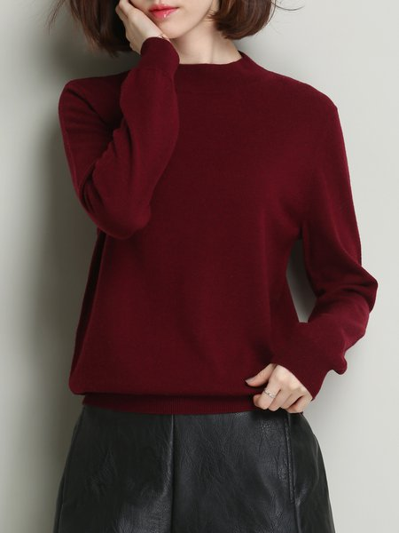 Crew Neck Basic Long Sleeve Knitted Sweater