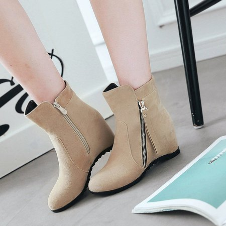 Beige Suede Zipper Winter Boots