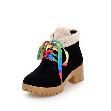 Black Winter Chunky Heel Casual Lace-up Boots