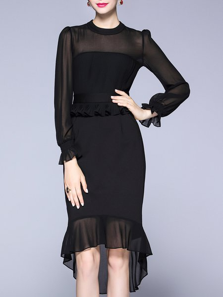 Black High Low Solid Crew Neck Elegant Midi Dress