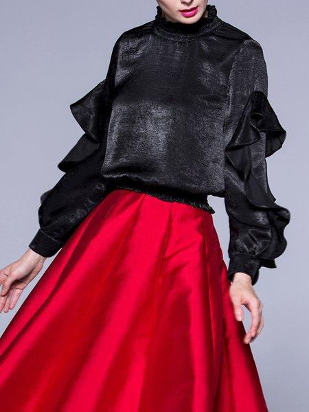 Ruffled Elegant Long Sleeve Solid Blouse