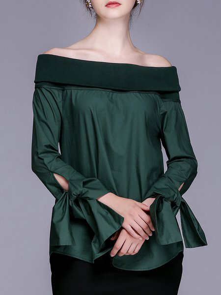 Green Off Shoulder Sexy Paneled Blouse