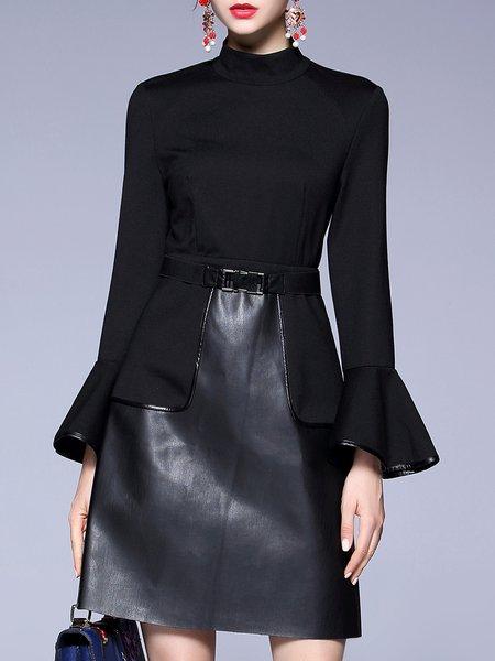 Black Paneled A-line Solid Midi Dress