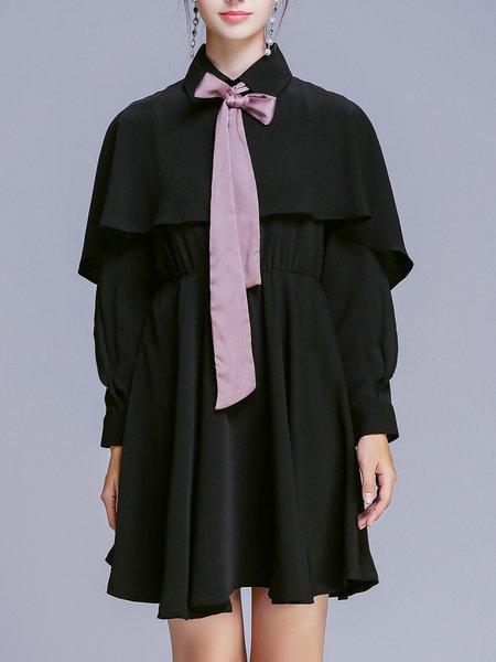 Bow Casual Solid Long Sleeve Midi Dress