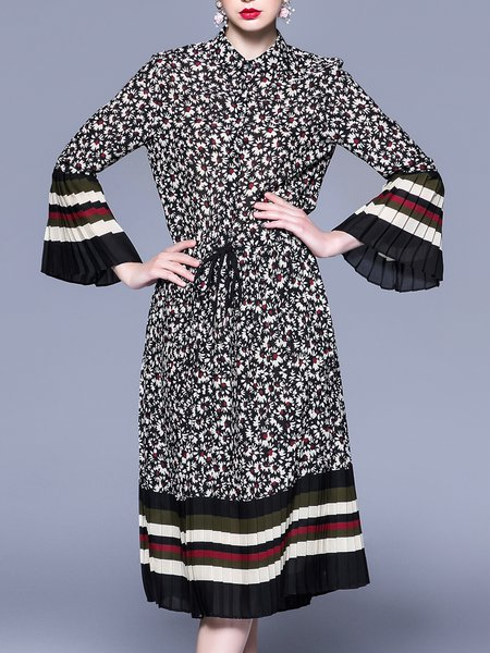 A-line Bell Sleeve Casual Floral Shirt Collar Midi Dress