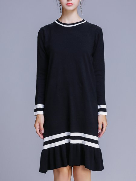 Black Flounce Crew Neck Long Sleeve Knitted Sweater Dress