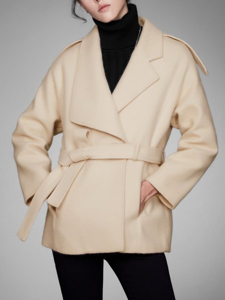 Shawl Collar Long Sleeve Solid Casual Acrylic Coat