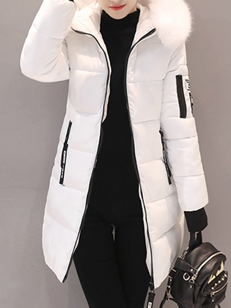 Casual Long Sleeve Cotton Fluffy Coat