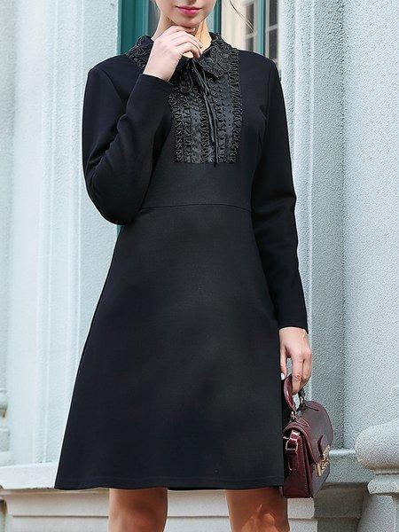 Black Midi Dress Daily Long Sleeve Casual Dress