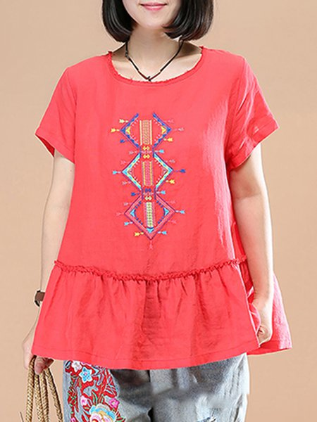 Short Sleeve Embroidered Cotton Casual Linen Top