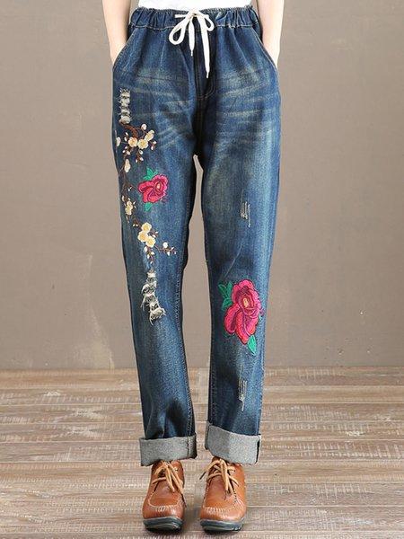 Blue Floral Demin Statement Straight Leg Pants