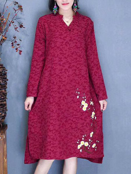 Casual Long Sleeve Floral Dress