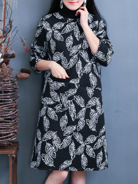 Leaf Long Sleeve Casual Pockets Linen Dress
