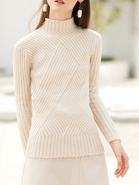 Apricot Long Sleeve Turtleneck Knitted Sweater