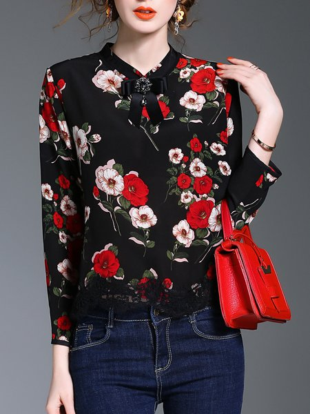 Black Long Sleeve Floral Tie-neck Bow Blouse