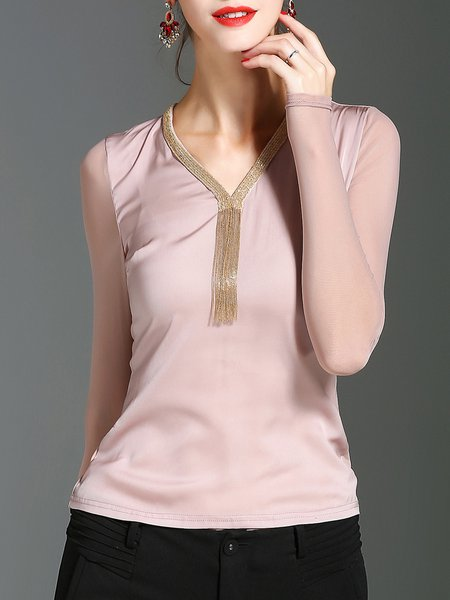 Paneled V Neck Solid Sexy Long Sleeved Top