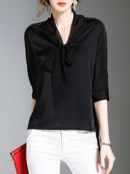 Black Half Sleeve Tie-neck Blouse