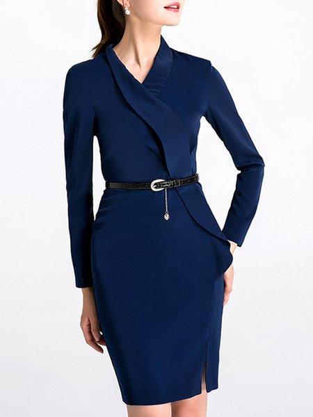 Navy Blue Wrap Solid Work Surplice Neck Midi Dress