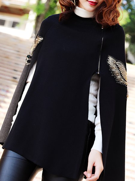 Casual Crew Neck Beaded Cape Sleeve Poncho And Cape