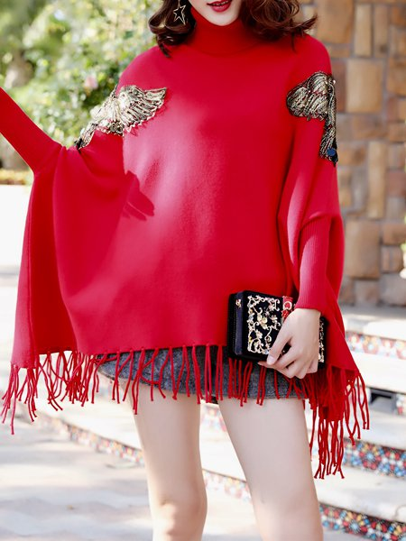 Plus Size Fringed Knitted Batwing Casual Animal Poncho And Cape
