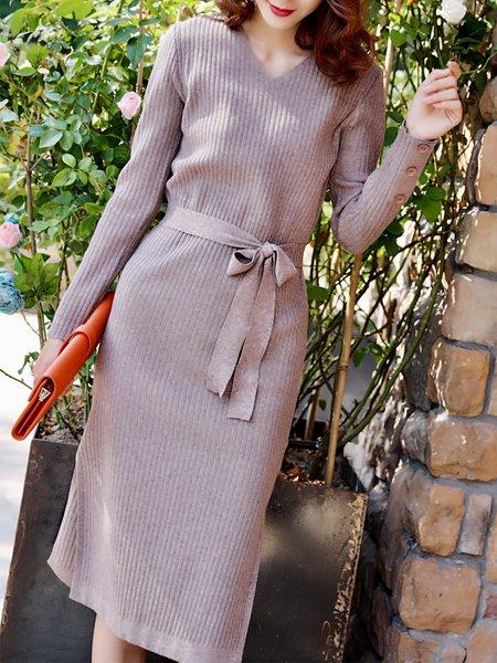 Gray Casual Sheath Plain Sweater Dress