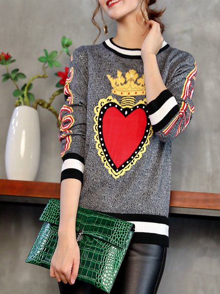 Knitted Jacquard Casual Long Sleeve Crew Neck Sweater