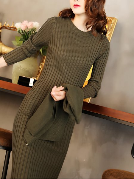 Casual Long Sleeve Buttoned Dress With Top