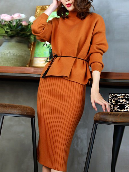 Slit Sheath Long Sleeve Casual Knitted Dress With Top
