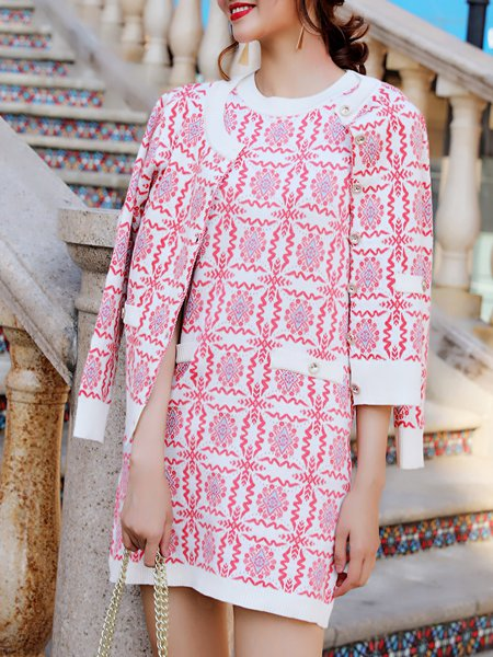 Intarsia Two Piece Long Sleeve Elegant Dress With Coat