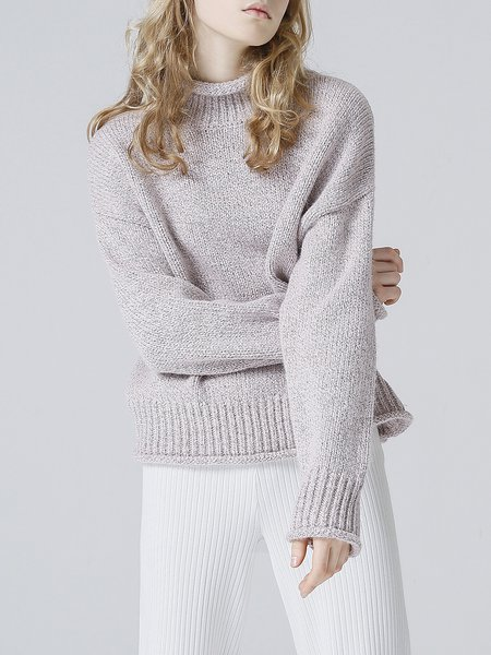 Plus Size Casual Long Sleeve Turtleneck Solid Knitted Sweater