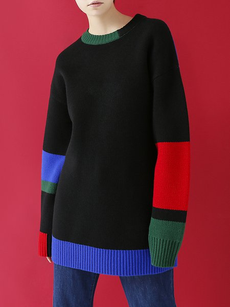 Long Sleeve H-line Crew Neck Intarsia Casual Sweater