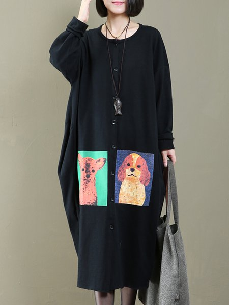 Black Printed Cotton Cocoon Long Sleeve Outerwear