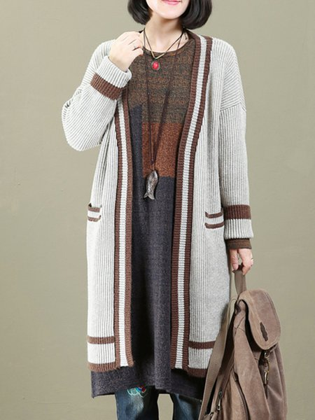 Intarsia Knitted Casual Long Sleeve Cardigan