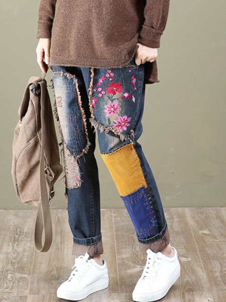 Dark Blue Casual Floral Shift Jeans