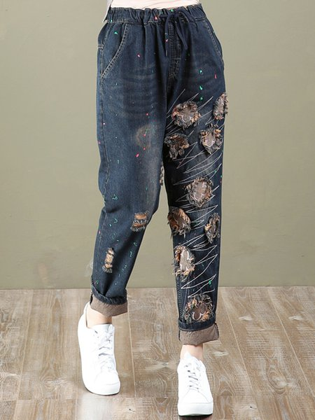 Dark Blue Shift Casual Demin Ripped Jeans
