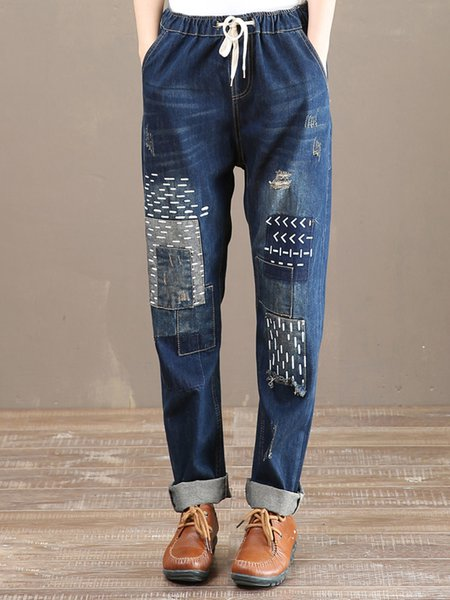 Dark Blue Demin Casual Shift Paneled Jeans